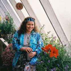 Cindy in the greenhouse